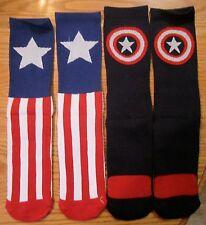 Captain America Civil War Mens Crew Socks 2 PAIRS Marvel Comics Mens 6-12 RWB