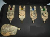 4 x TMC Camo Mag Roller wireless Bite Alarms, Receiver. LED's, Carp / Coarse