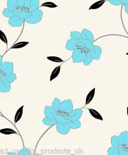 DeBona - Papier peint, Sarcelle Fleur, motif floral et feuilles, Rouleau crème