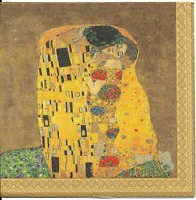 Lot de 4 Serviettes en papier Klimt Le baiser Decoupage Collage Decopatch
