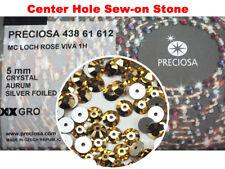 144 Preciosa Czech VIVA Loch Rose 1-hole Sew-on Flatback Stones 5mm Cry. AURUM