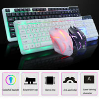 Colorful LED Illuminated Backlit USB Wired PC Rainbow Gaming Keyboard Mouse Sets