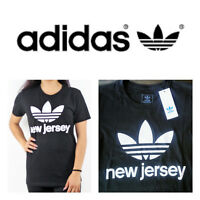 "🆕ADIDAS Women's Boyfriend Black Crew ""New Jersey"" STRONG Logo T-Shirt Team"
