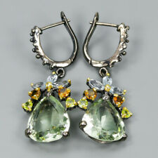 Wedding Gift Jewelry Natural Green Amethyst 925 Sterling Silver Earrings /E30780