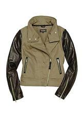 $495 Mackage Andra Leather Sleeves Cotton Twill Asymmetrical Moto Jacket Khaki S