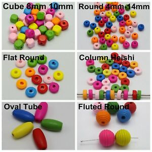 Craft DIY Mixed Bright Candy Colour Wood Beads Various Shape Wooden Round Cube