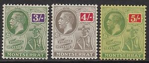 MONTSERRAT 1922-29 3s, 4s & 5s, FINE MINT, CAT £70