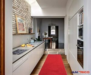"""20"""" x 59"""" Runner Rug Solid Red Rubber Backing Kitchen Home Hallway Non Slip NEW"""