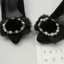 A Pair Beaded Black Beads Fashion Lace Black Shoe Clips
