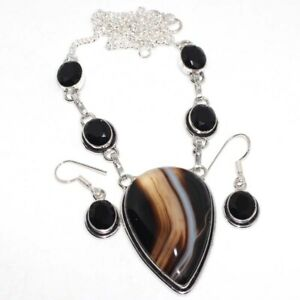 Banded Black Onyx Black Onyx 925 Silver Plated Necklace Earrings Set GW