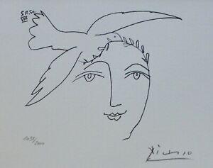 PABLO PICASSO Visage de la Paix 50 XVI HAND NUMBERED 1098/2000 signed LITHOGRAPH