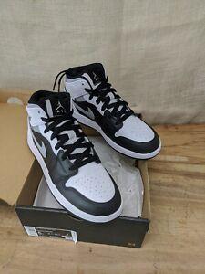 "Air Jordan 1 Mid ""White Shadow"" 554725-073 Black White Smoke Grey 554724 SZ 5Y"