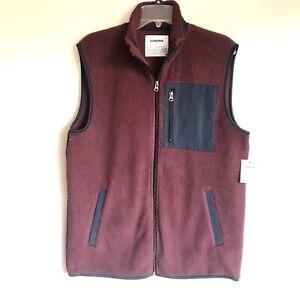 Sonoma Mens Size M Fleece Vest Zipper Pockets Sleeveless Warm