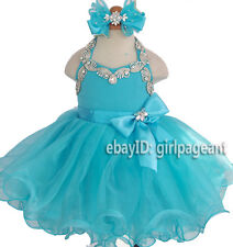 Infant/toddler/baby Crystals Rhinestones Bow Pageant Dress 2T G079M