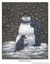 Amish Snowman print by artist Audrey Hughes Bell  AHB Studio limited edition