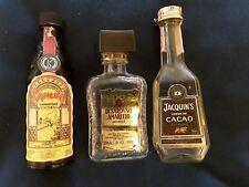 3 Vintage empty Miniature Liqueur Bottles Kahlua, Di Saronna Amareto, Jaquin's