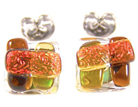 """DICHROIC GLASS EARRINGS Post Brown Amber Orange Striped Fused STUD Tiny 1/4"""" 8mm"""