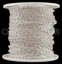 Cable Chain Spool - 100 Feet - Shiny Silver Color - 2x3mm Link - Bulk Rolo