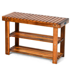 3-Tier Wood Shoe Rack 27.5' Bench Freestanding Boots Organizer Heavy-duty