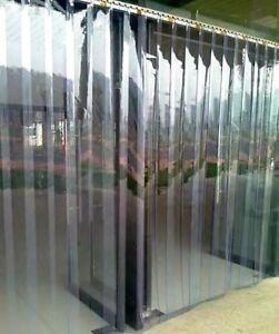 300x2mm PVC Lamellen Streifen Vorhang vormontiert mit Wandschiene+Halteklammern