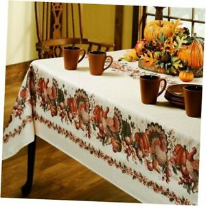 Printed Fabric Tablecloth, 60-Inch-by-84 Inch 60 X 84 Rectangular Thanksgiving