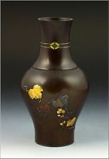Japanese Mixed Metals Bronze Vase with Enamel Gold Silver & Copper 19th Century