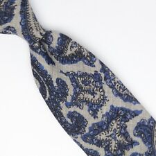 Josiah France Mens Wool Necktie Gray Navy Blue Paisley Print Soft Woven Tie