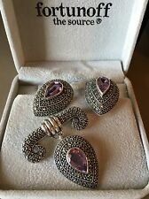 Judith Jack Amethyst Sterling Silver Marcasite Pin/Earring Set