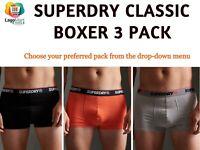 Superdry Men's Cotton Classic Boxer | Underwear | S M L XL - 3 Pack | 2 & 4 Pack