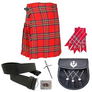 Men's Scottish Royal Strewart Tartan Kilt Outfit Package All Size