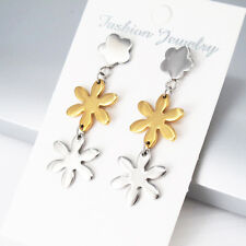 Silver Gold Stainless Steel Dangle Dangling Retro Star Floral Stud Earrings