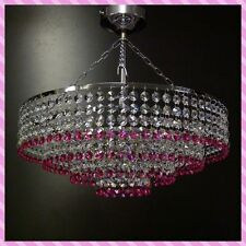 Chrome Pink Lead Crystal Glass Chandelier Ceiling Light Lamp Lighting ITPL40Pink