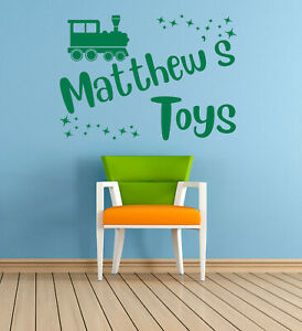 Personalised Name, toys, Train, Vinyl Wall Art Sticker, Mural, Decal. Kids