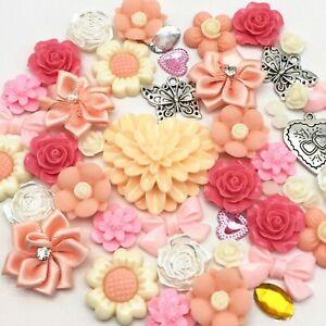 50 Embellishments Peach Pink Cabochon Beads Flatbacks Gems Craft Cardmaking