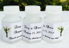120 CALLA LILY Personalized BUBBLE labels/stickers for WEDDING or PARTY FAVORS