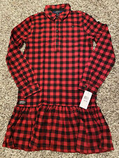 NEW Polo Ralph Lauren Girls Plaid Flannel Dress Size XL (16) Red NWT $65