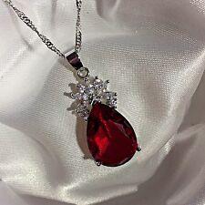 Pera Corte Rojo Granate PE + Sim Diamante 33x13mm Oro Blanco F Colgante 45cm cadena Ciruela