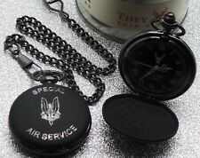 SAS Hunter Pocket Watch and Chain LUXURY Engraved Crest Badge Metal Case Army