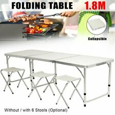 6 FT Portable Folding Table Outdoor Picnic Plastic Camping Dining Party+6 Chairs