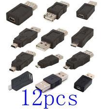 12Pcs OTG USB 2.0 A Male To Female Micro-B Mini-B Adapter USB Gadgets