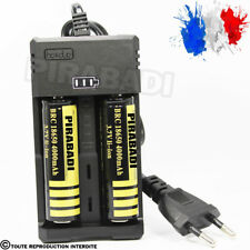 2 PILES ACCU RECHARGEABLE 18650 3.7v 4000mAh BATTERY BATTERIE + CHARGEUR RS-93