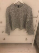 River Island Grey Faux Pearl Embelished Knit Jumper Size S