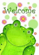 """WELCOME FROG with FLOWERS SPRING SUMMER YARD GARDEN FLAG 12"""" X 18"""""""