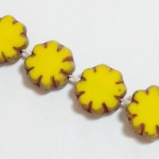 6pcs Yellow Czech Glass Flower Beads 9mm Table Cut Bohemian Jewellery Craft GB42