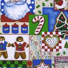 Patchwork Christmas Cookies Themed Polycotton Fabric * Per Metre