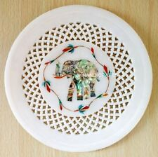 "7"" Marble Round Plate Abalone Floral Elephant Inlay Filigree Art Home Decor"