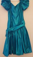 Vintage 80's Prom Dress Party Balloon Skirt Puffy Sleeve 1980's Retro Big Bow