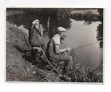 PHOTO ANCIENNE Rasage Miroir Rasoir Pêche à la ligne Rivière Bord de l'eau 1940