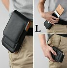 """iPhone 13 (6.1"""") - Black VERTICAL Leather Card Slot Pouch Belt Clip Holster Case"""