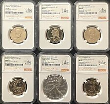 2015 ANNUAL DOLLAR COIN SET 6 COIN SET, BURNISHED SILVER EAGLE MS70***NICE***